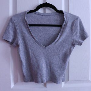 BRANDY MELVILLE GREY RIBBED TSHIRT ONE SIZE XS-S